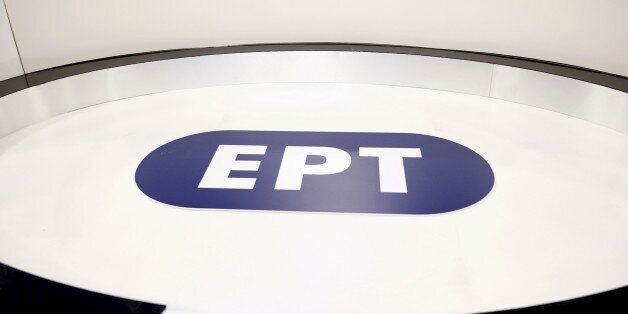 The logo of the reopened state broadcaster ERT is seen inside a studio in Athens June 11, 2015. Employees...