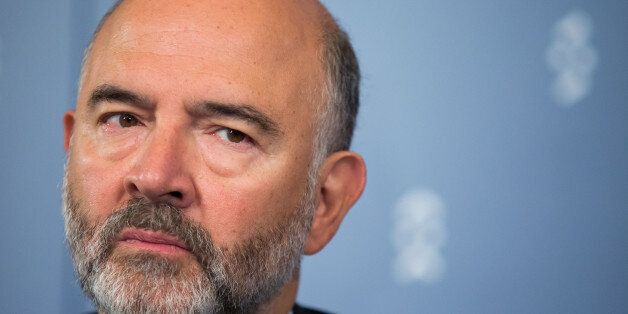 Member of the European Commission Pierre Moscovici attends a press conference during an Informal Meeting...