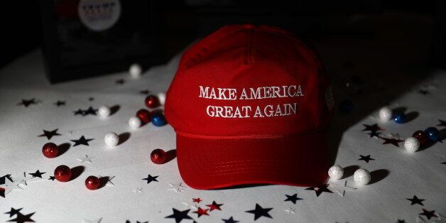 A 'Make America Great Again' hat sits on a table ahead of an election night party for 2016 Republican...