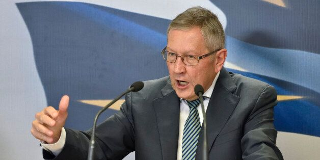 ESM Managing Director Klaus Regling at the press conference in the Ministry of Finance in
