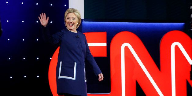 Democratic U.S. presidential candidate Hillary Clinton waves before the start of the Democratic U.S....