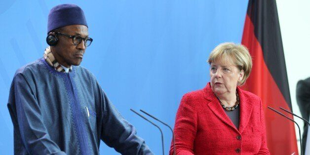 BERLIN, GERMANY - OCTOBER 14: German Chancellor Angela Merkel and Nigerian President Muhammadu Buhari...
