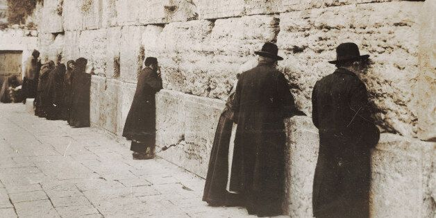 ISRAEL - JANUARY 01: Jews at the Wailing Wall in Jerusalem. Photography 1929. (Photo by Imagno/Getty