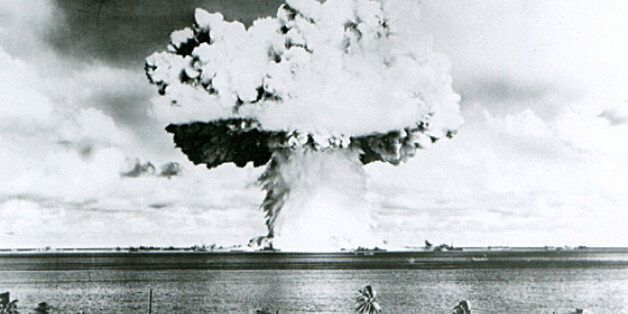 This U.S. Navy handout image shows Baker, the second of the two atomic bomb tests, in which a 63-kiloton...