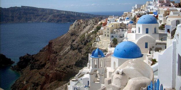 This Sept. 21, 2009 photo shows a view of Oia village on the island of Santorini, Greece. The Greek island...