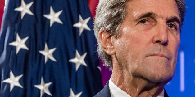 In this Oct. 4, 2016 photo, U.S. Secretary of State John Kerry pauses, during a speech at an event hosted...