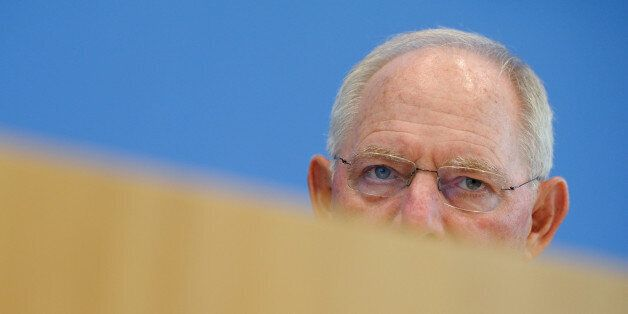 Finance Minister Wolfgang Schaeuble speaks at a news conference on 2017 budget and financial plan till...