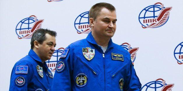 MOSCOW REGION, RUSSIA - SEPTEMBER 16, 2016: Russian cosmonauts Oleg Skripochka (L) and Alexei Ovchinin...