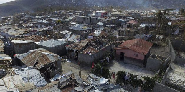 Aerial views of Jeremie, 188 km west of Port-au-Prince, on October 10, 2016, following the passage of...