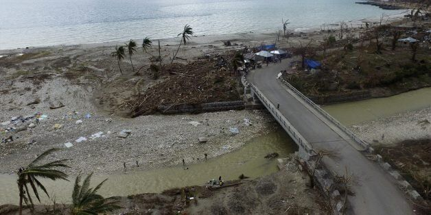 Aerial picture showing the destruction caused by Hurricane Matthew in Port-Salut, southwest of Port-au-Prince,...