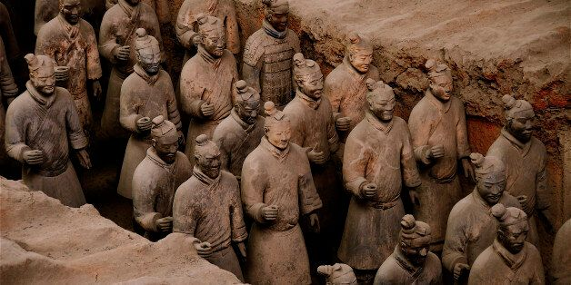China, Shaanxi Province, near Xian, Lintong site listed World Heritage by UNESCO, terracotta army guarding...