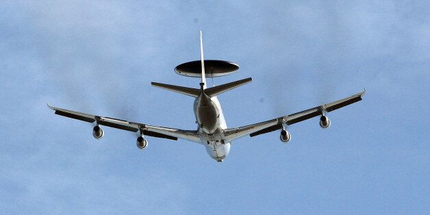 GEILENKIRCHEN, GERMANY - MARCH 14: A NATO E-3A airborne warning and control system (AWACS) aircraft takes...