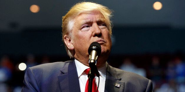 Republican presidential candidate Donald Trump speaks during a campaign rally, Thursday, Oct. 13, 2016,...