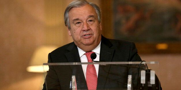 The newly appointed Secretary General of the United Nations, Antonio Guterres, reads a statement at Lisbon's...