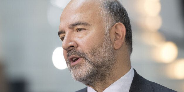 Pierre Moscovici, economic commissioner for the European Union (EU), speaks during a Bloomberg Television...