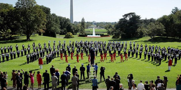 WASHINGTON, DC - SEPTEMBER 23: The Tennessee State University Aristocrat of Bands marching band performs...