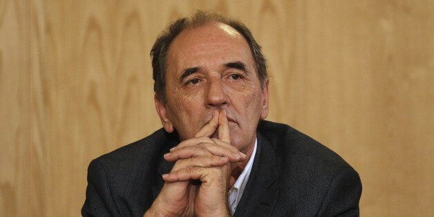 Greek Economy Minister Giorgos Stathakis attends a news conference at the Greek Ministry of Infrastructure,...