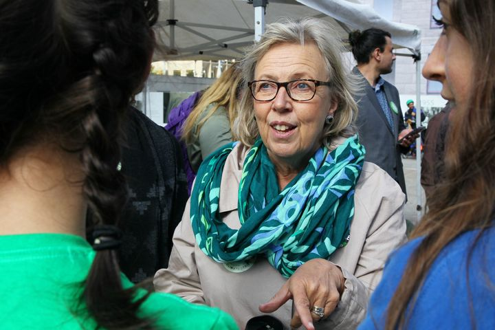 """Green Party Leader Elizabeth May joins climate change activists and students as they gather in Calgary for a protest and """"die-in"""", on the steps of the Calgary Municipal Building on Friday."""