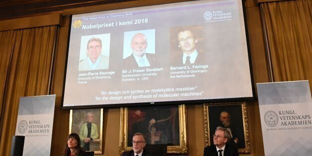 The winners of the 2016 Nobel Chemistry Prize (L-R) Jean-Pierre Sauvage, J Fraser Stoddart and Bernard...