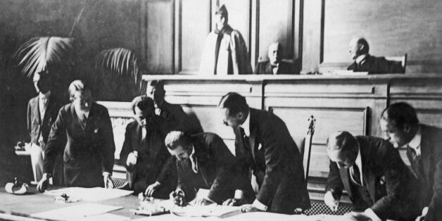 SWITZERLAND - JULY 24: Signing of the Treaty of Lausanne on July 24, 1923. The treaty is ratified by...