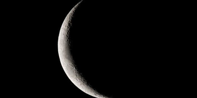 Crescent moon in the sky,