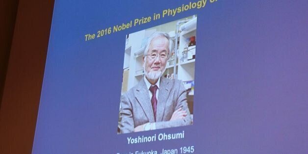 A photo of Yoshinori Ohsumi of Japan can be seen on the speaker's desk at the Nobel Forum in Stockholm,...