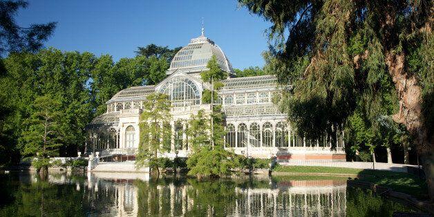 ancient Crystal palace in El Retiro park at Madrid