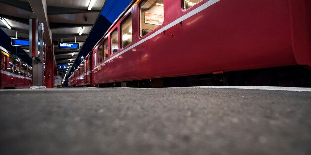 Trains waiting in station in the