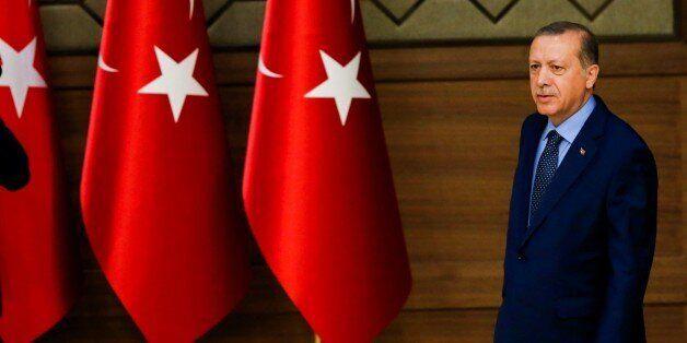ANKARA, TURKEY - SEPTEMBER 29: President of Turkey Recep Tayyip Erdogan walks to give a speech during...