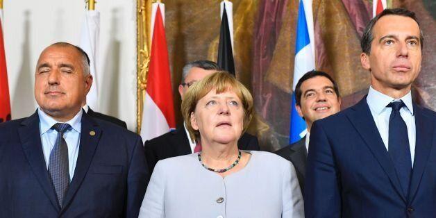 (L to R) Bulgaria's Prime minister Boyko Borissov, German chancellor Angela Merkel and Austrian chancellor...