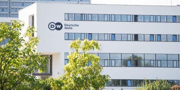 Picture taken on September 26, 2016 shows the head office of German international broadcaster Deutsche...