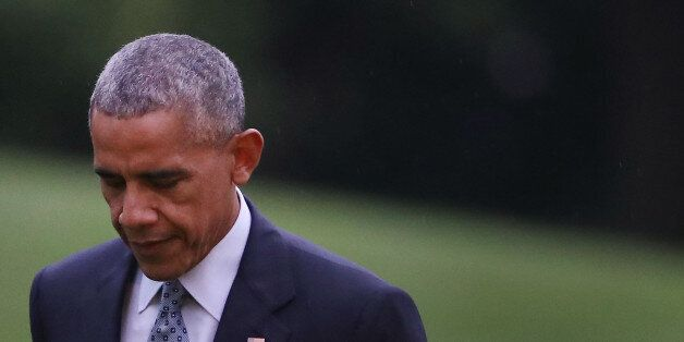 WASHINGTON, DC - SEPTEMBER 28: U.S. President Barack Obama arrives back at the White House, from attending...