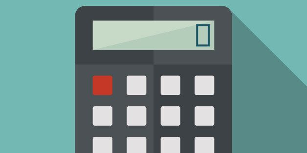 calculator icon witn long shadow. flat style vector