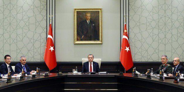 ANKARA, TURKEY - SEPTEMBER 28: President of Turkey, Recep Tayyip Erdogan (C) chairs National Security...