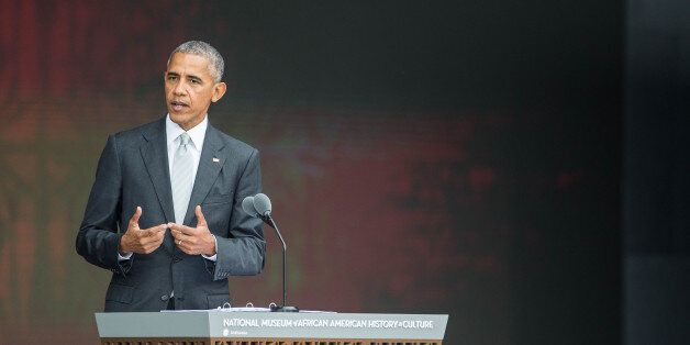US President Barack Obama speaks during the opening ceremony for the Smithsonian National Museum of African...