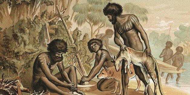 Australian aborigines with kangaroo
