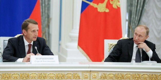 MOSCOW, RUSSIA - JUNE 22, 2016: Russian State Duma chairman Sergei Naryshkin (L), and Russia's president...