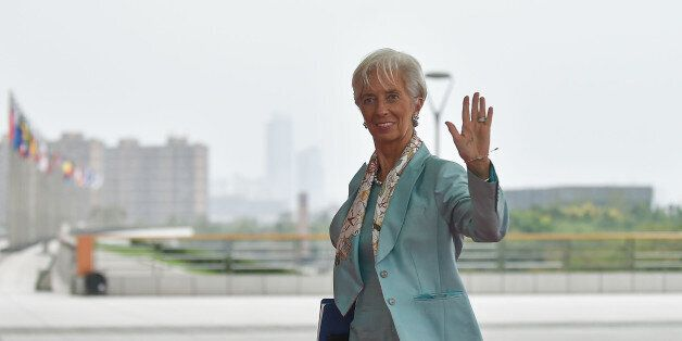 IMF Managing Director Christine Lagarde arrives at the Hangzhou International Expo Center to attend the...