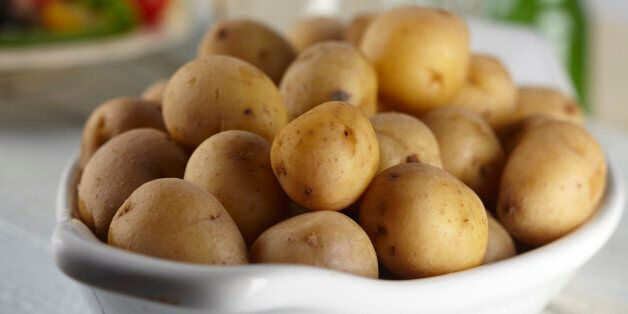 Vegetarian, Side Dish, Food, Food And Drink, Vegetables, Potato, Gold, Baby Potato, Boiled, Cooked, Skin On,