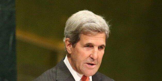 United States Secretary of State John Kerry speaks during a ceremony to mark more signatories to the...