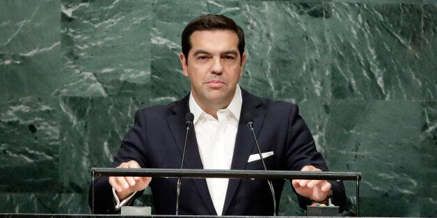 Greece's Prime Minister Alexis Tsipras speaks during the 71st session of the United Nations General Assembly,...