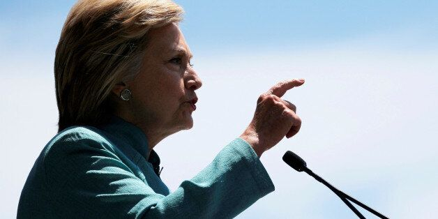 U.S. Democratic presidential candidate Hillary Clinton delivers a campaign speech outside the shuttered...