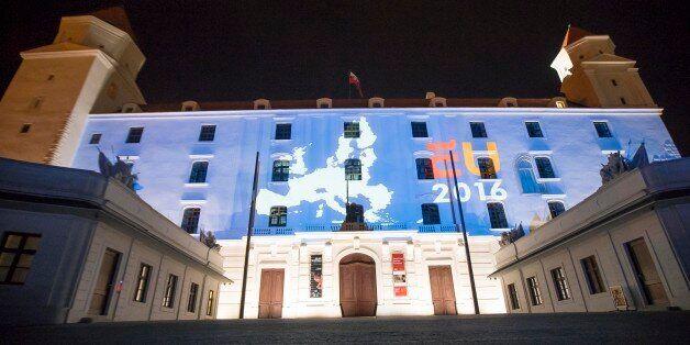 The Netherlands EU Presidency 2016 logo projected onto walls of Bratislava Castle in Bratislava, Slovakia,...