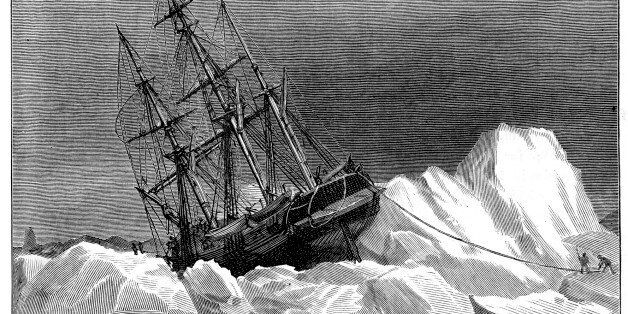 'Vintage engraving from 1878 showing HMS Terror trapped in the Ice. The Terror along with HMS Erebus...