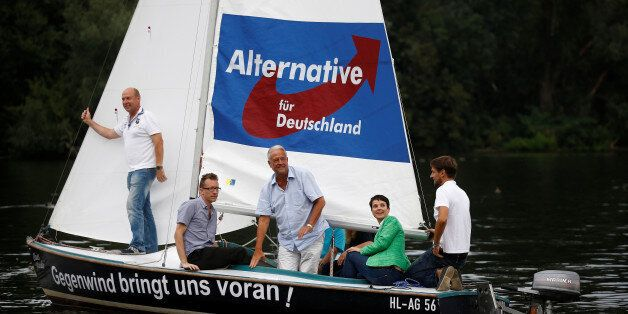Frauke Petry (2nd fron R), chairwoman of the anti-immigration party Alternative for Germany (AfD) attends...