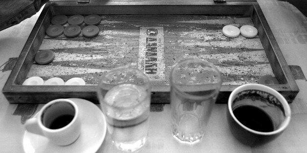 The old Tavli (backgammon) board in a kafenion (traditional cafe) Crete,