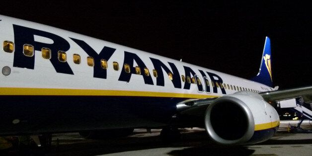 Santander, Spain - January 2, 2011: Ryanair airplane just arriver to Santander