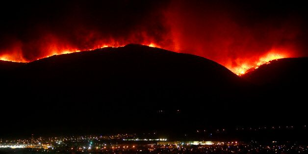 RNPS IMAGES OF THE YEAR 2007 - A huge forest fire burns at Parnitha mountain overlooking Athens, June...