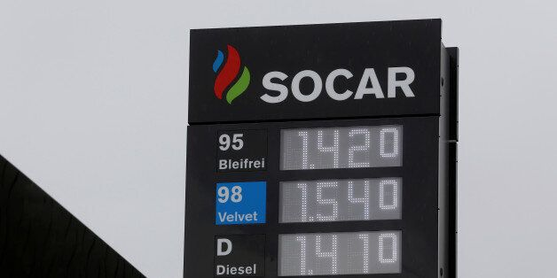 The logo of SOCAR Energy Switzerland is seen on a filling station in Bern, Switzerland May 9, 2016. REUTERS/Ruben