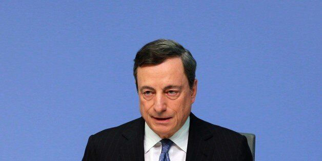 FRANKFURT, July 22, 2016 -- The European Central Bank President Mario Draghi attends a press conference...